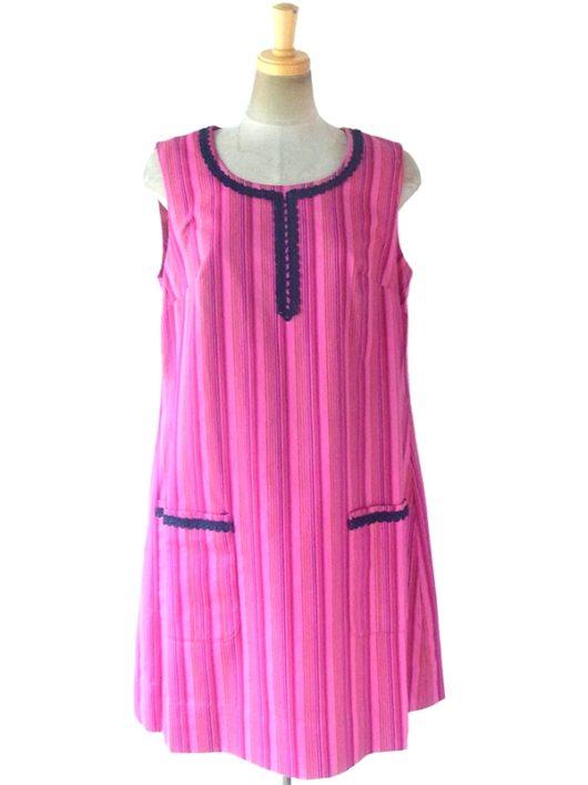 【送料無料】ロンドン買い付け 60年代製 ピンク X ストライプ ネイビー コードレース装飾 ポケット付き ワンピース 17BS216【ヨーロッパ古着】
