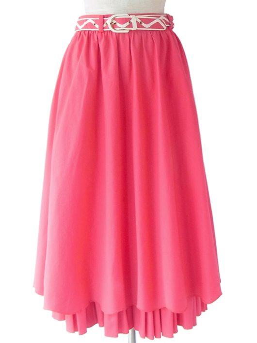 【ヨーロッパ古着】ロンドン買い付け マゼンダピンク X 波型裾の下からギャザーがのぞく ベルト付き スカート 17BS220【おとなかわいい】