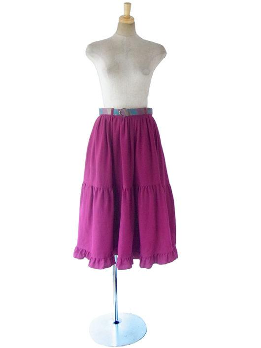 【ヨーロッパ古着】ロンドン買い付け 70年代製 ワインレッド X ティアード ギャザー ベルト付き スカート 17BS223【おとなかわいい】