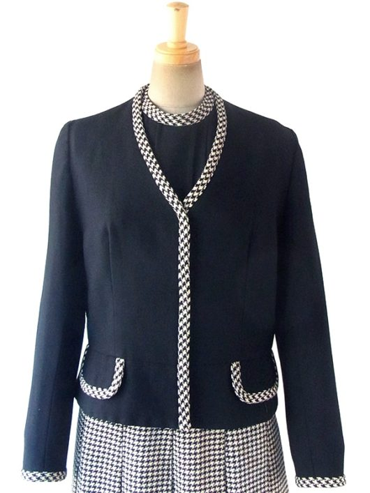【送料無料】ロンドン買い付け 60年代製 モノトーン X 千鳥格子 ウール ジャケット・ワンピース セットアップ 17BS224【ヨーロッパ古着】