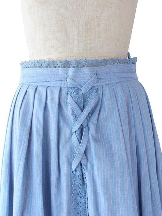 【ヨーロッパ古着】ロンドン買い付け 60年代製 水色 X ストライプ 組紐・レース装飾 ヴィンテージ スカート 17BS221【美品】