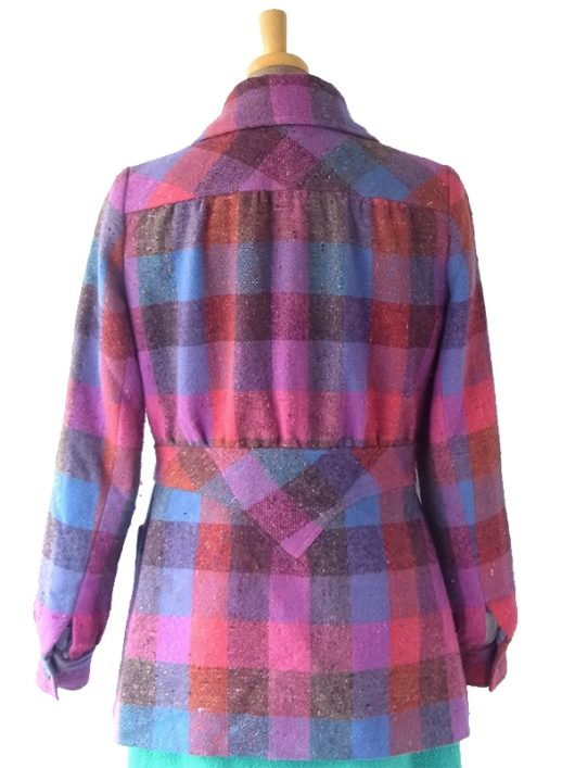 【送料無料】60年代アイルランド製 ピンク・ブルー X ブロックチェック ウール ジャケット コート 17BS225【ヨーロッパ古着】