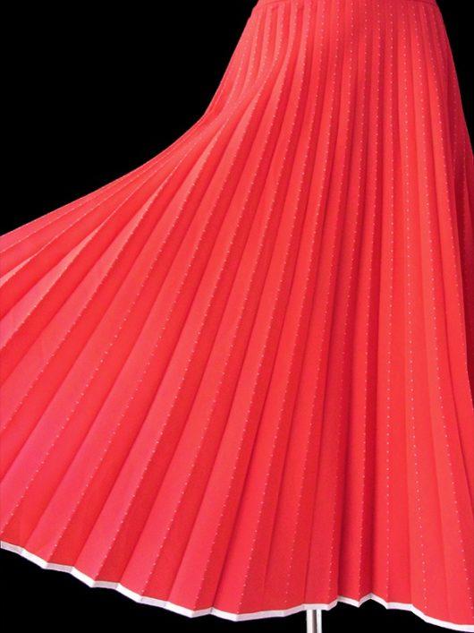 【ヨーロッパ古着】ロンドン買い付け 70年代製 レッド X ホワイト ピンドット アンブレラプリーツ スカート 17OM713【レトロポップ】