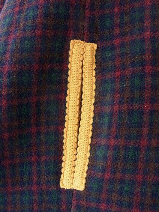 【送料無料】フランス買い付け 60年代製 グリーン・レッド チェック柄 X イエロー ライニング 厚手ウール マント 18FC007【ヨーロッパ古着】