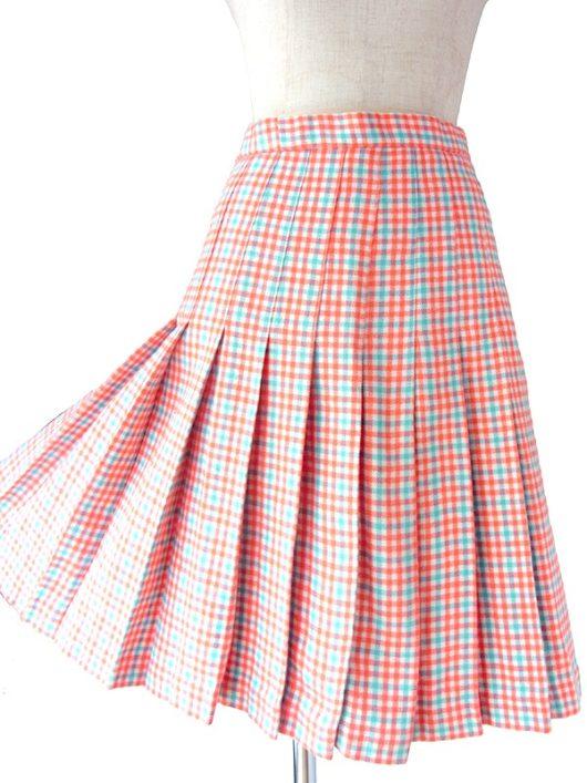 【ヨーロッパ古着】フランス買い付け 60年代製 レッド X 水色 チェック柄 ウール プリーツ スカート 18FC005【おとなかわいい】