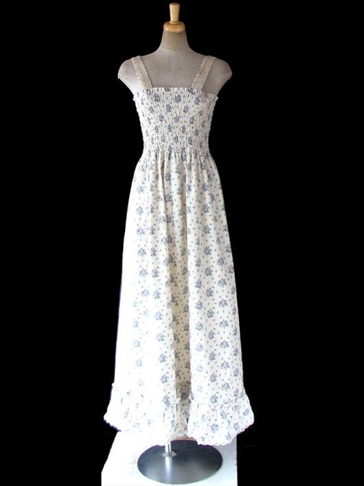 【送料無料】ロンドン買い付け 60年代製 オフホワイト X パープル 花柄 シャーリング・レーステープ マキシワンピース 18OM000【ヨーロッパ古着】