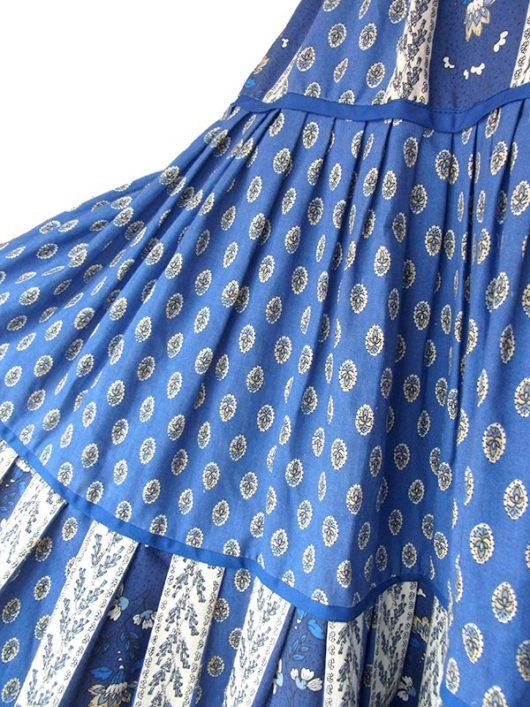 【送料無料】ロンドン買い付け 60年代製 ブルー X 花柄モチーフプリント 美しいプリーツ プロヴァンス スカート 18OM014【ヨーロッパ古着】