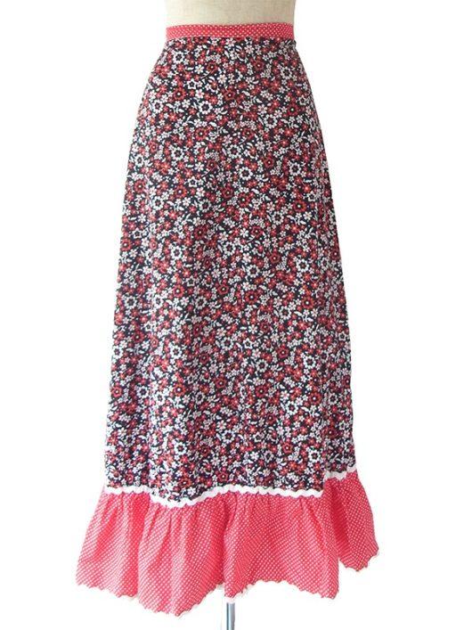 【ヨーロッパ古着】ロンドン買い付け 60年代製 ブラック X レッド・ホワイト 花柄・水玉 山道テープ ロング スカート 18OM015【おとなかわいい】