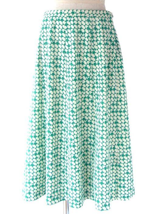 【ヨーロッパ古着】ロンドン買い付け 70年代製 グリーン X オフホワイト レトロ柄 ヴィンテージ スカート 18OM016【おとなかわいい】