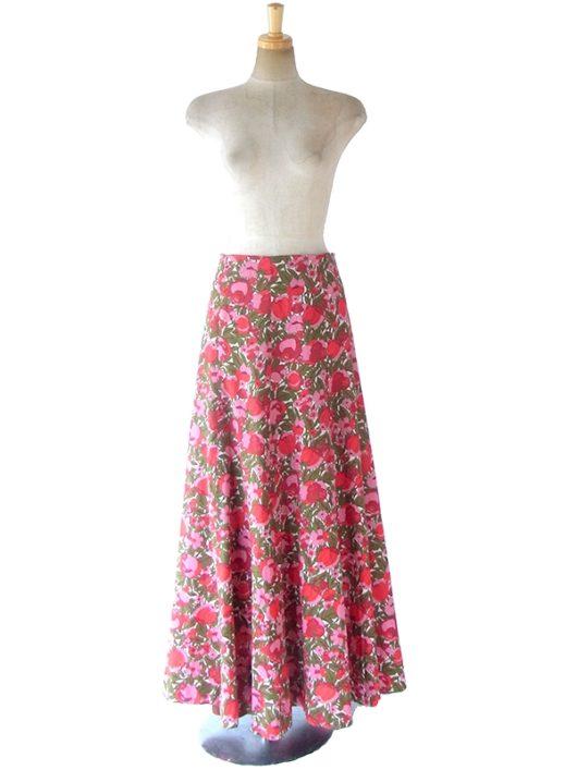 【ヨーロッパ古着】60年代フランス製 ピンク・レッド X カーキ 花柄プリント ロングスカート 18OM019【エレガント】