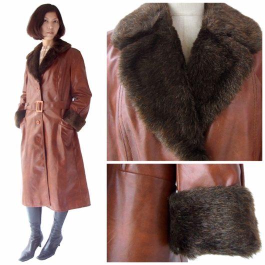 【送料無料】ロンドン買い付け 60年代製 ブラウン X ラビットファー襟・袖 ヴィンテージ レザーコート 15BS322【ヨーロッパ古着】