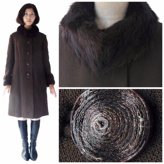 【送料無料】フランス買い付け 60年代製 ブラウン X 襟・袖ファー デザインボタン ヴィンテージ ウールコート 16FC020【ヨーロッパ古着】