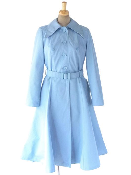 【送料無料】ロンドン買い付け 70年代製 水色 X 共布ベルト付き スプリングコート 10BS189【ヨーロッパ古着】
