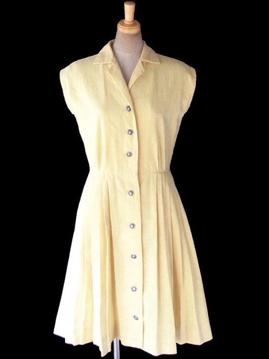 a【送料無料】ロンドン買い付け 60年代製 レモン色 X ゴールド・ブルーボタン プリーツ ワンピース 18BS023【ヨーロッパ古着】