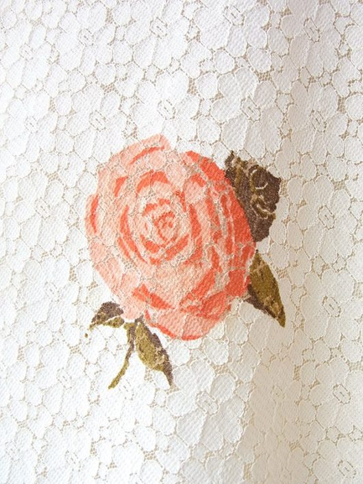 【ヨーロッパ古着】ロンドン買い付け アイボリー X 花柄総レース ピンクの薔薇プリント ヴィンテージ スカート 18BS028【美品】