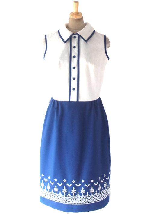 【送料無料】ロンドン買い付け 70年代製 ホワイト X ブルー スカート切り返し レトロ柄刺繍 ヴィンテージ ワンピース 18OM338【ヨーロッパ古着】