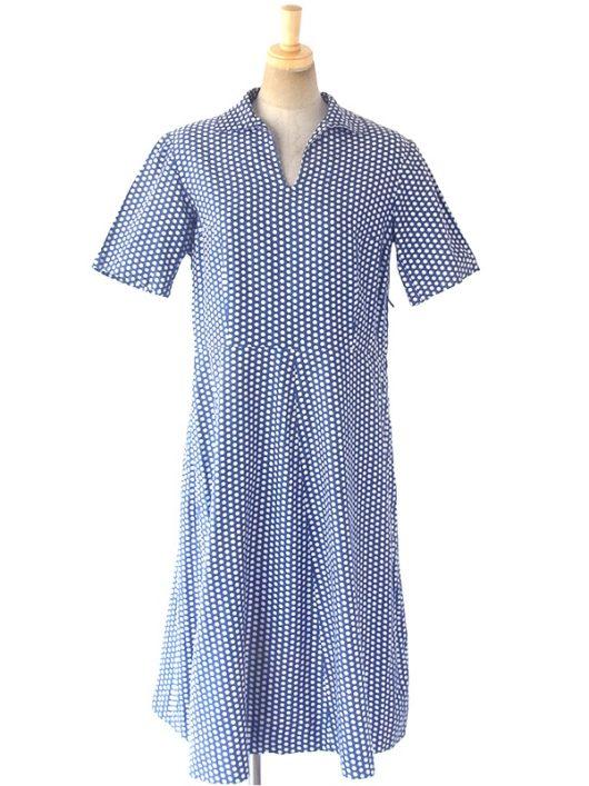 【ヨーロッパ古着】ロンドン買い付け 60年代製 ブルー X ホワイト 水玉 ヴィンテージ ワンピース 15OM105【おとなかわいい】