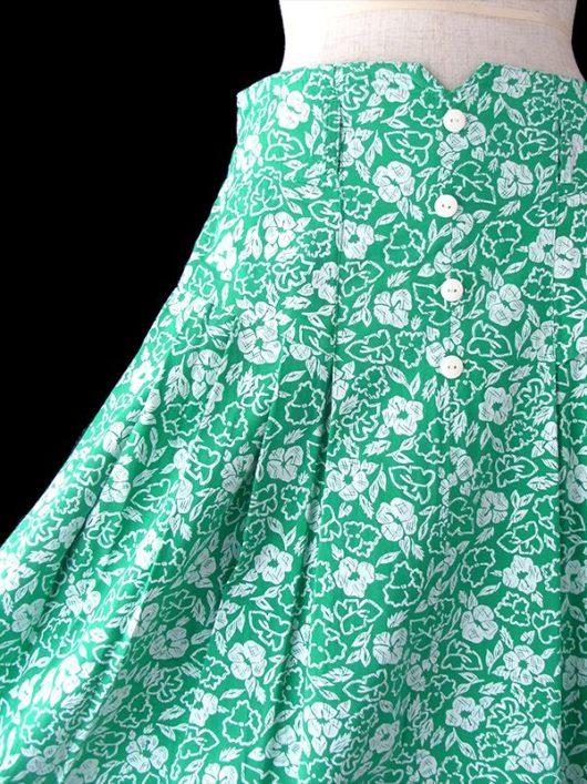【ヨーロッパ古着】フランス買い付け 60年代製 グリーン X ホワイト 花柄 プリーツ スカート 18FC317【おとなかわいい】