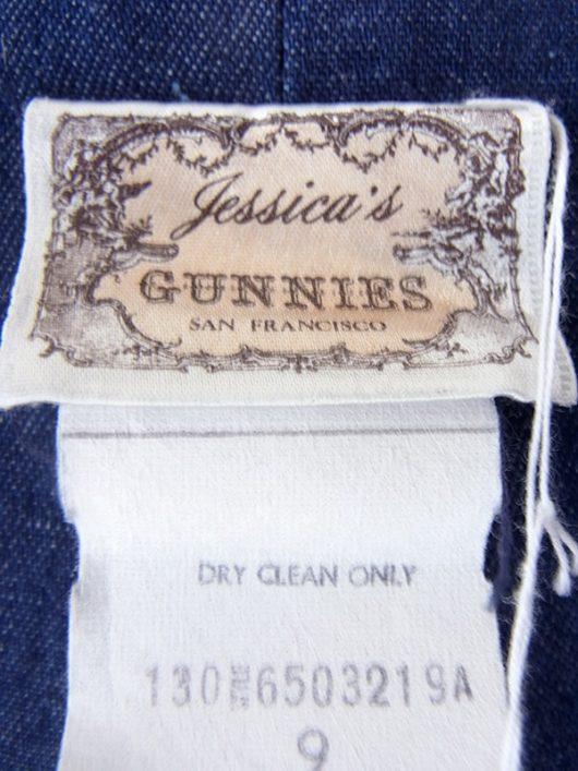 【ガニーサックス】70年代製 GUNNE SAX GUNNIES インディゴ X 裾元カットレーステープ デニム ロングスカート 18BS128【おとなかわいい】