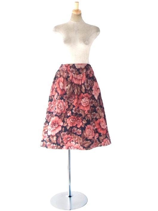 【ヨーロッパ古着】フランス買い付け 60年代製 ブラック X ピング・ブラウン 花柄 コーデュロイ スカート 18FC522【おとなかわいい】