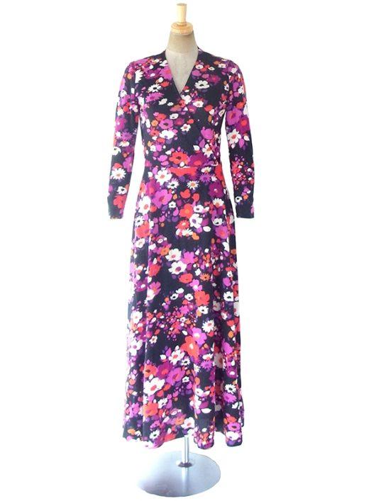 【送料無料】ロンドン買い付け 60年代製 ブラック X カラフル花柄 カシュクールデザイン ロング ワンピース 18BS209【ヨーロッパ古着】