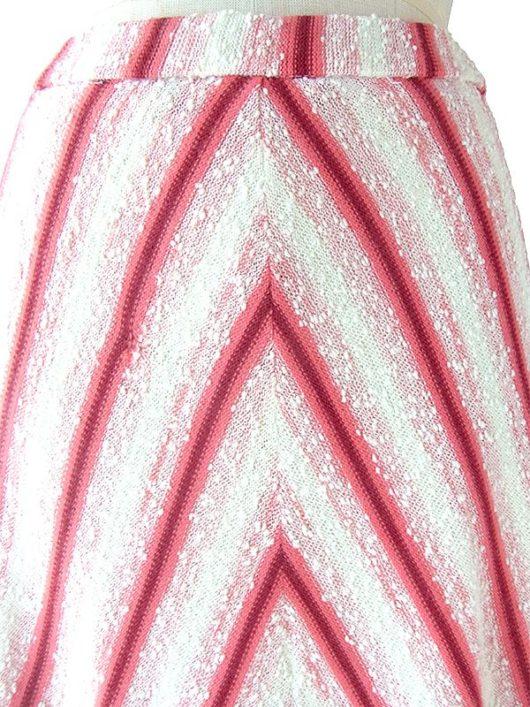 【ヨーロッパ古着】ロンドン買い付け 60年代製 ホワイト X レッド バイアス柄 パイル生地 スカート 18BS223【おとなかわいい】