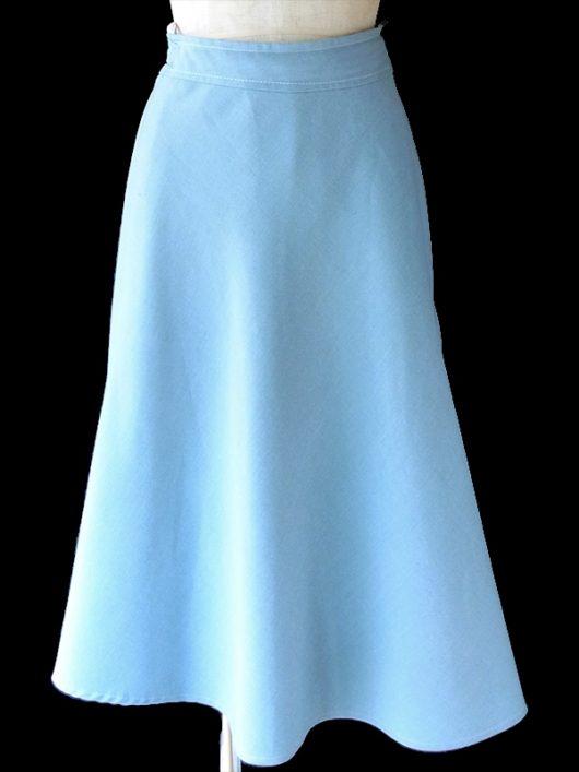 【ヨーロッパ古着】ロンドン買い付け 60年代製 水色 X ホワイトステッチ ラップスカート 18BS226【おとなかわいい】