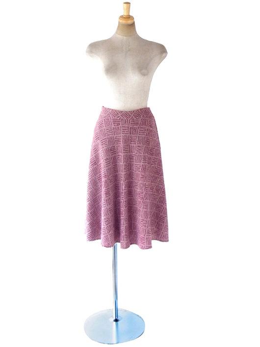 【ヨーロッパ古着】ロンドン買い付け バーガンディー X ツイード フレアスカート 18BS227【おとなかわいい】