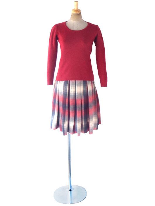 【ヨーロッパ古着】アメリカ製 PENDELTON レッド X ネイビー X ライトベージュ チェック柄 ウール ボックスプリーツ スカート 18SR118【おとなかわいい】