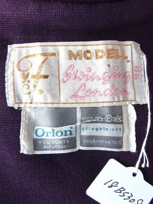 【送料無料】ロンドン買い付け 60年代製 パープル X ホワイト レトロ柄 ポケット付き ジレ ワンピース 18BS308【ヨーロッパ古着】