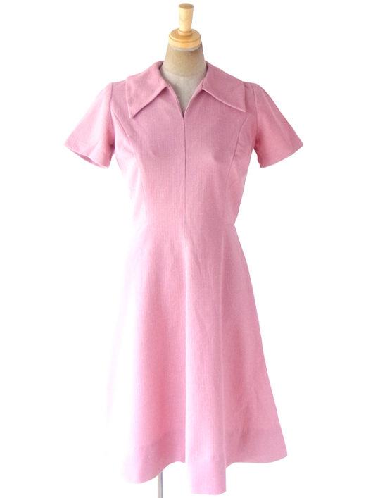 【ヨーロッパ古着】ロンドン買い付け 70年代製 ピンク X ホワイト霜降り生地 フレア ワンピース 18OM606【おとなかわいい】