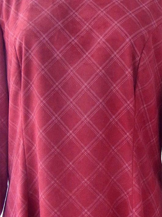 【送料無料】ロンドン買い付け 60年代製 ボルドー X チェック柄 ヴィンテージ ベロア ワンピース 19AT000【ヨーロッパ古着】