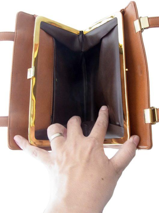 【ヨーロッパ古着】ロンドン買い付けキャメルブラウン X ゴールド がま口 レザー ハンドバッグ 19BS037【レトロ】
