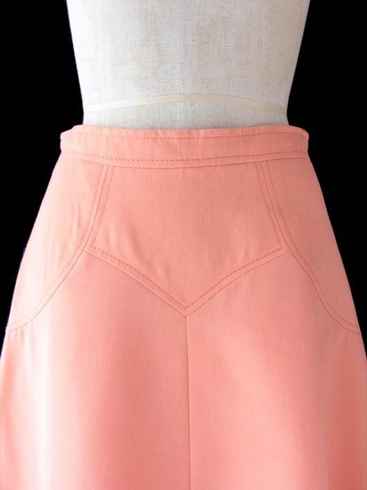 【ヨーロッパ古着】ロンドン買い付け 60年代製 アプリコット X ステッチ・シームデザイン ヴィンテージ スカート 19OM125【おとなかわいい】