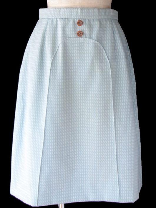 【ヨーロッパ古着】ロンドン買い付け 60年代製 水色 X ホワイト ダイヤ柄 飾りボタン付き ウール スカート 19OM127【おとなかわいい】