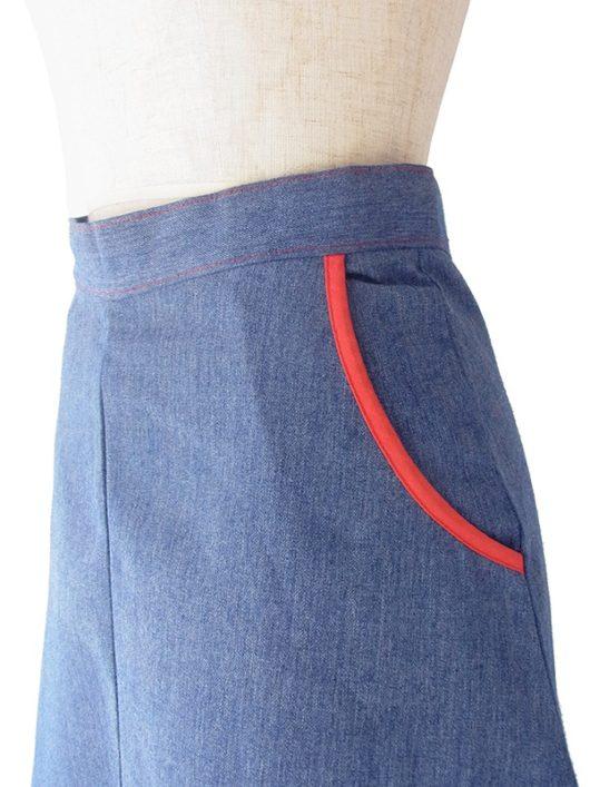 【ヨーロッパ古着】ロンドン買い付け 60年代製 インディゴブルー X レッド ライニング ポケット付き ヴィンテージ スカート 19OM128【おとなかわいい】