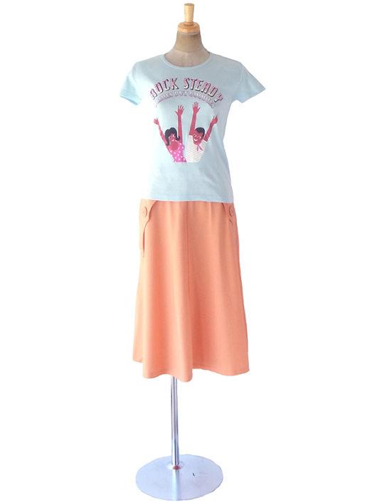 【ヨーロッパ古着】ロンドン買い付け 70年代製 アプリコット X ステッチ 大きなボタン ヴィンテージ スカート 19OM129【おとなかわいい】