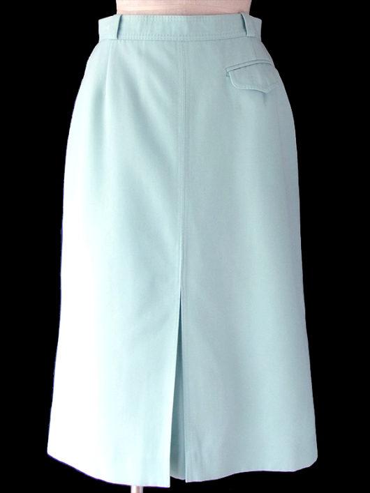 【ヨーロッパ古着】70年代西ドイツ製 水色 X フラップ付きポケット ボックスプリーツ スカート 19OM132【おとなかわいい】