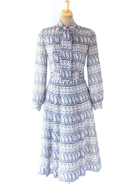 【送料無料】ロンドン買い付け 70年代日本製 オフホワイト X ブルー オリエンタル柄 ボウタイ ワンピース 18OM509【ヨーロッパ古着】