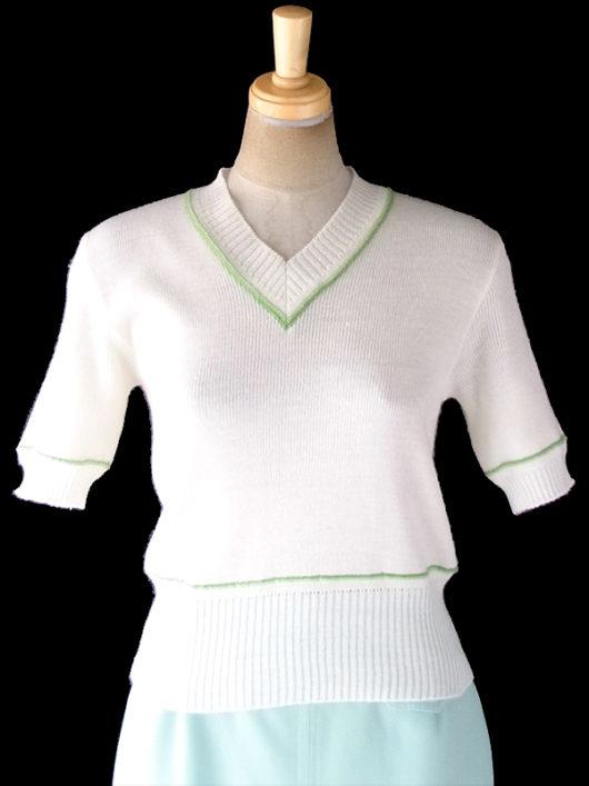 【ヨーロッパ古着】フランス買い付け 60年代製 オフホワイト X ライムグリーンの縁取り Vネック サマーニット トップス 19FC219【おとなかわいい】