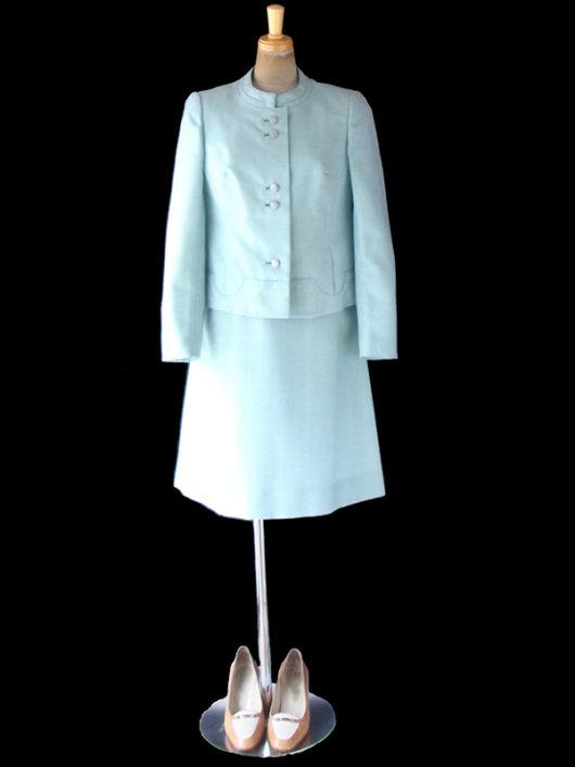 1【送料無料】フランス買い付け 60年代製 水色 ジャケット&ワンピース セットアップ スーツ 13FC105【ヨーロッパ古着】