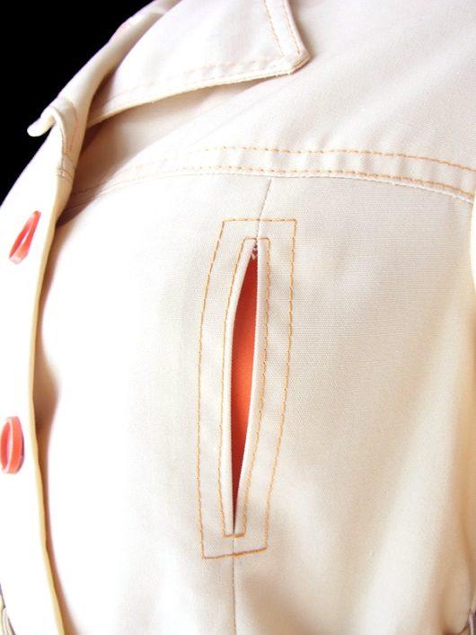 【送料無料】ロンドン買い付け 70年代製 ライトベージュ X オレンジ ステッチデザイン 共布ベルト付き ジャケット 19BS217【ヨーロッパ古着】