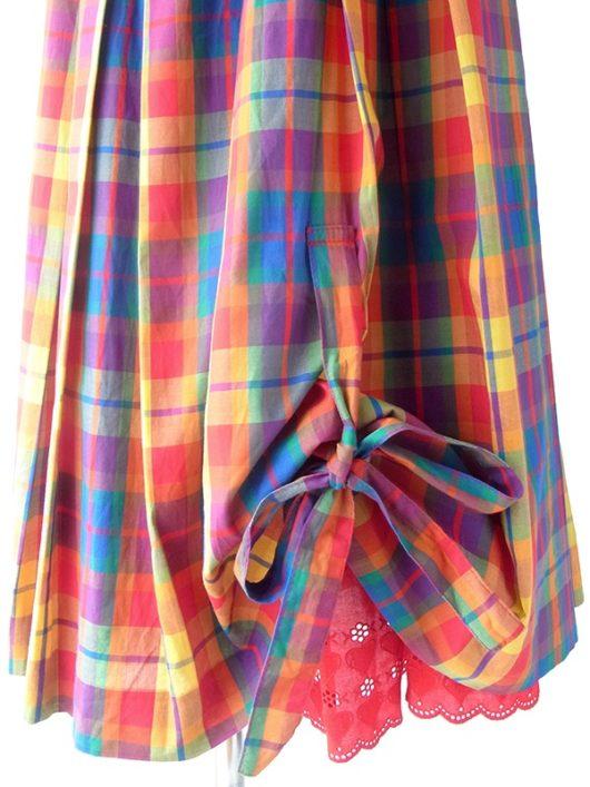 【ヨーロッパ古着】ロンドン買い付け 70年代製 マドラスチェック X ハート柄 カットレース 裏地 裾リボン スカート 19BS221【おとなかわいい】