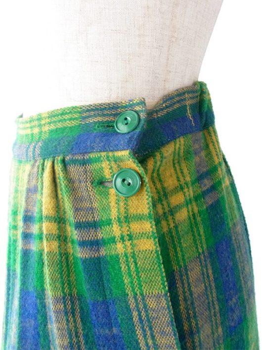 【ヨーロッパ古着】フランス買い付け 60年代製 グリーン X イエロー・ブルー チェック柄 左サイドボタン ポケット付き スカート 19FC423【おとなかわいい】