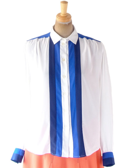 【ヨーロッパ古着】70年代フランス製 ホワイト X ブルー・ネイビー ヴィンテージ ブラウス 19FC513【おとなかわいい】