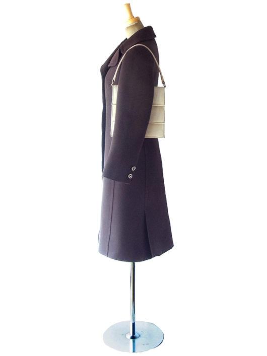 【ヨーロッパ古着】フランス買い付け 60年代製 アイボリー X 二重蓋 レザー ハンドバッグ 19FC524【レトロ】