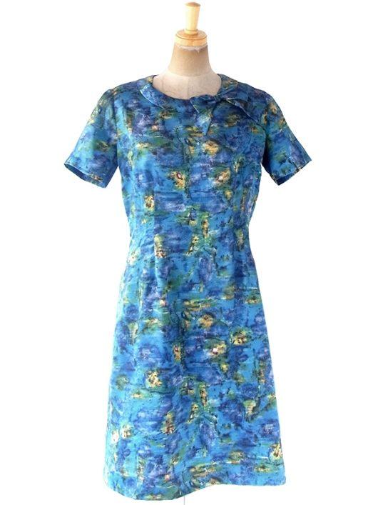 【送料無料】フランス買い付け 60年代製 ブルーを基調とした絵画のようなプリント リボン付き 化繊サテン ドレス 20FC000【ヨーロッパ古着】