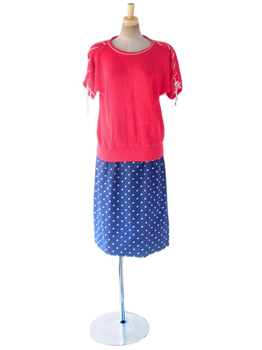 【ヨーロッパ古着】フランス買い付け 60年代製 ネイビー X ホワイト 水玉 ヴィンテージ スカート 20FC018【おとなかわいい】