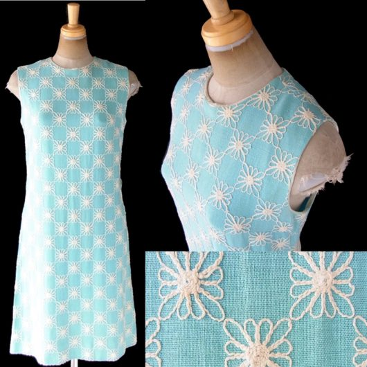 【送料無料】ロンドン買い付け 60年代製 水色 X ホワイト刺繍 ヴィンテージ ワンピース 20OM023【ヨーロッパ古着】