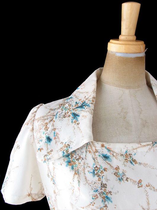 【送料無料】フランス買い付け 70年代製 アイボリー X ブラウン・ターコイズブルー 花柄 ヴィンテージ ワンピース 20FC214【ヨーロッパ古着】